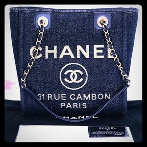 Authentic Chanel Lurex Canvas Deauville Tote 2019